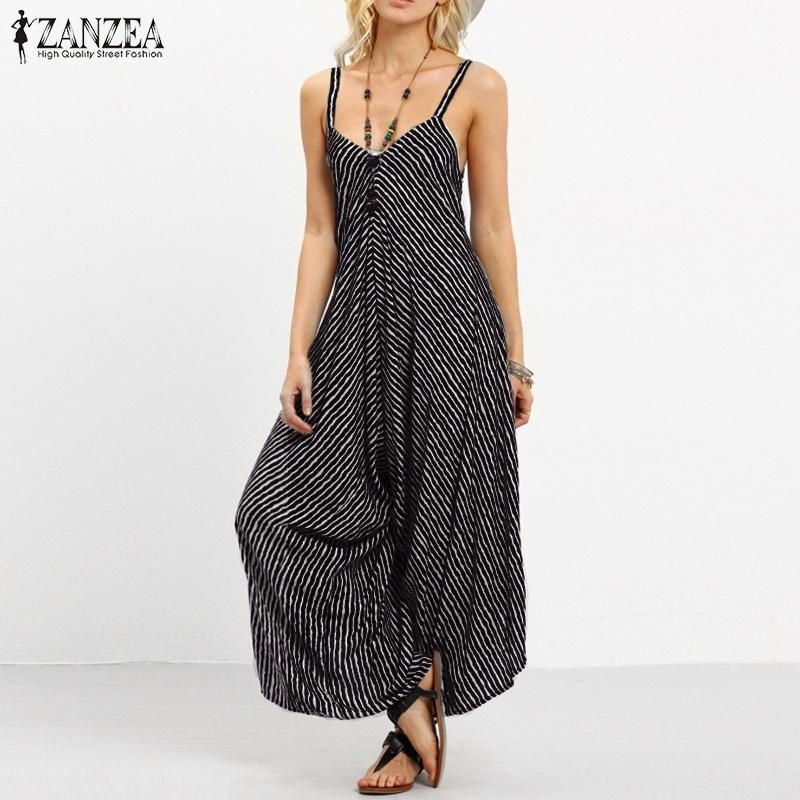 edd9695a0a5 ZANZEA Summer Rompers Womens Jumpsuit 2017 Fashion Striped Long Playsuit  Casual Loose Sexy Backless Overalls Plus Size Hot Sale - serenityboutique