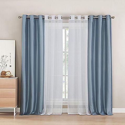 Kensie Evangeline 84 Inch Rod Pocket Window Curtain Panel Pair In