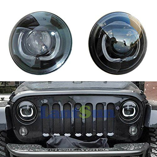 Lantsun 7 Inch 55w High Low Beam Hid Xenon Headlights With Led Drl Halo Angel Eye For 1997 2015 Jeep Wrangler 1 Pair Jeep 2016 Jeep Wrangler Jeep Wrangler