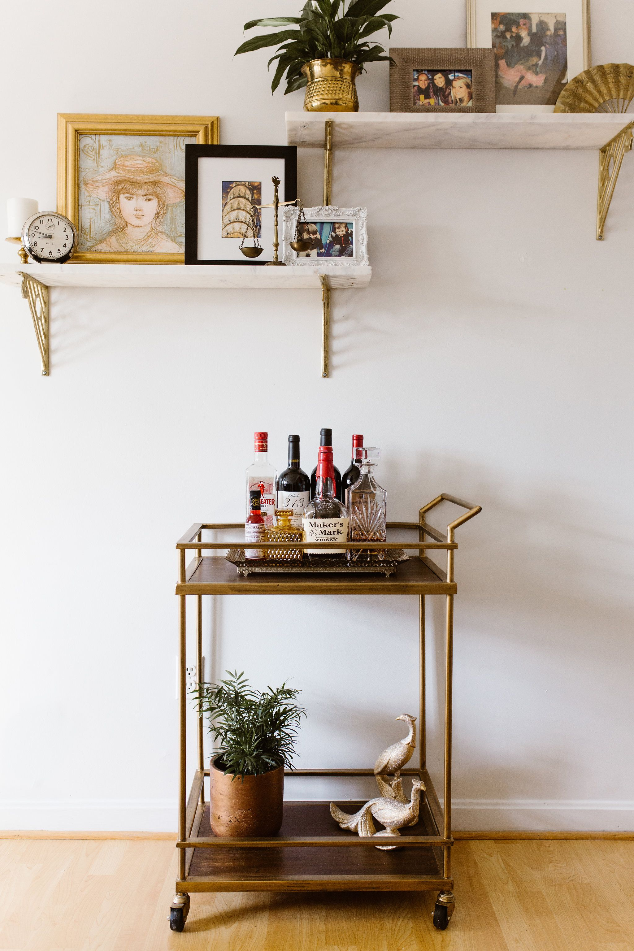 Bar Cart Styling Love These Marble Shelves Paired With