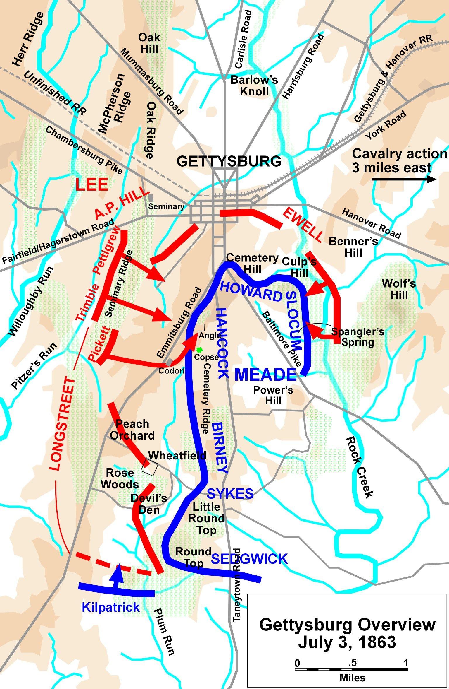 Gettysburg Battle Map Civil War Pinterest Gettysburg - Gettysburg on a map of the us