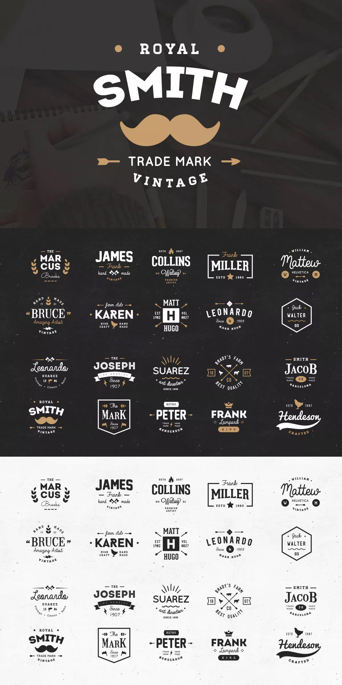 20 vintage logos badges template psd ai eps download logo