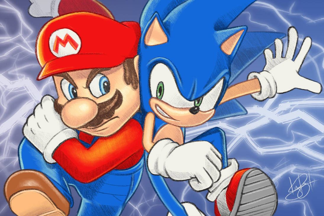 Mario Vs Sonic By Kyrzl Sonic Mario Mario Nintendo