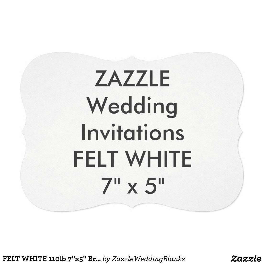"""FELT WHITE 110lb 7""""x5"""" Bracket Wedding Invitations"""