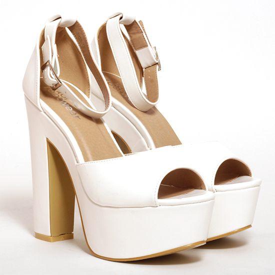 5e455da37a52 Gorgeous white platforms from Korkys.ie  fashion  whiteheels  heels  yas