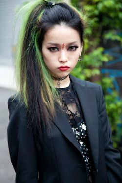 goth lime green and black hair