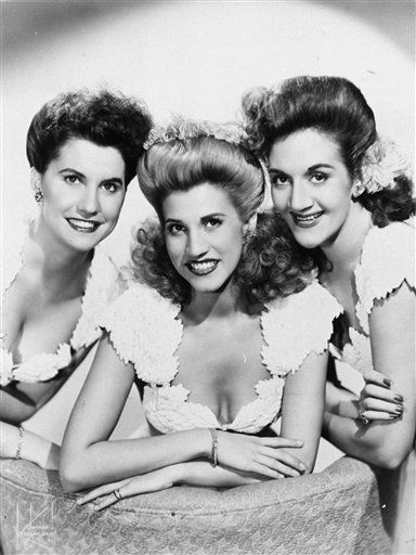 """Patty Andrews, the last surviving member of the singing Andrews Sisters trio whose hits such as the rollicking """"Boogie Woogie Bugle Boy of Company B"""" and the poignant """"I Can Dream, Can't I?"""" captured the home-front spirit of World War II, died Wednesday. She was 94. (via @The Associated Press; photo via Anonymous/ AP File)"""