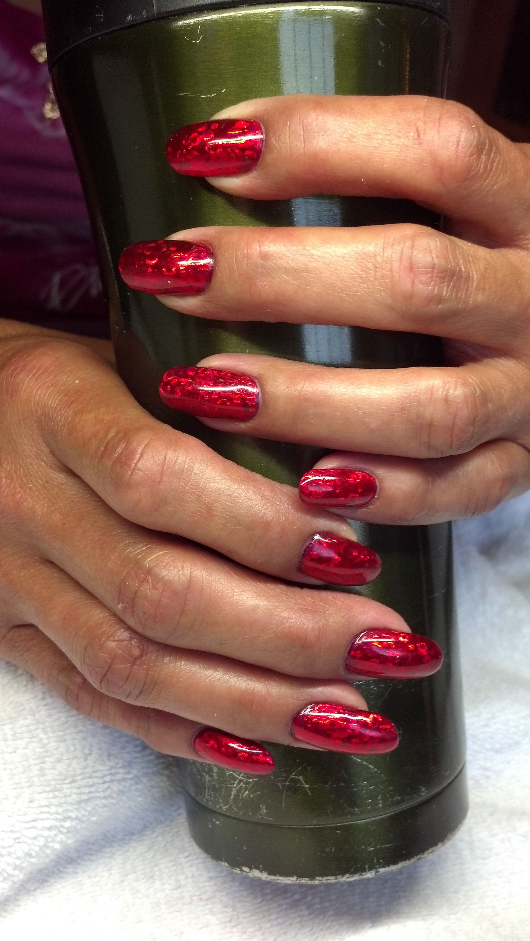 Natural Nails With Liquid Powder Cnd Shellac And Red Metallic Foil