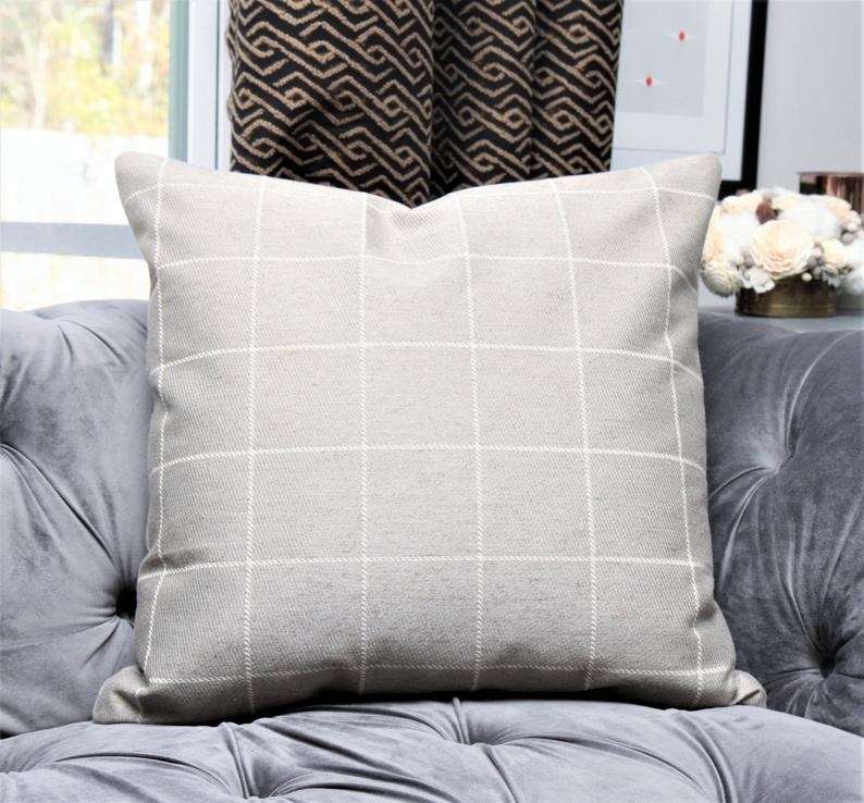 Pewter Gray Pillow Cover Medium Grey Check Throw Pillow Etsy In 2020 Grey Pillow Covers Grey Pillows Pillows