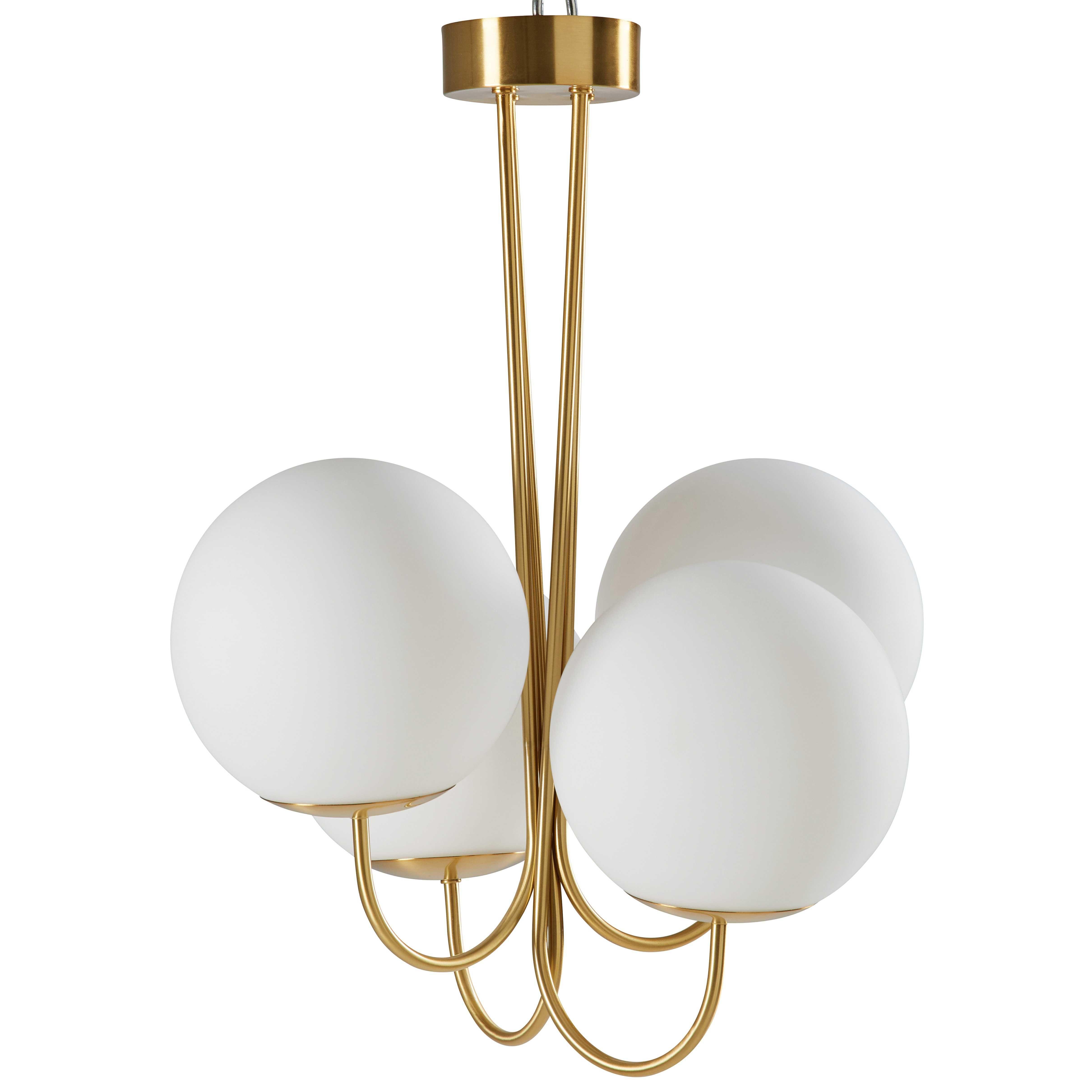 lustre 4 branches en verre blanc et m tal dor lustre verre et deco luminaire. Black Bedroom Furniture Sets. Home Design Ideas