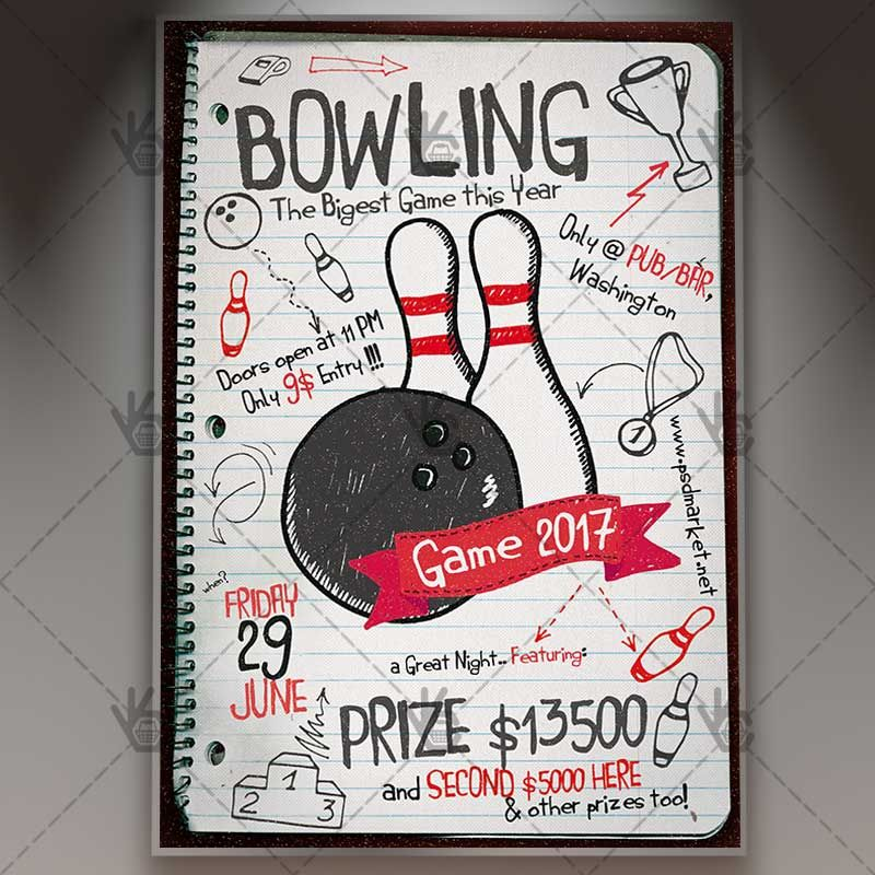 Bowling Party - Premium Flyer PSD Template #bowling #bowlingmatch - bowling flyer template