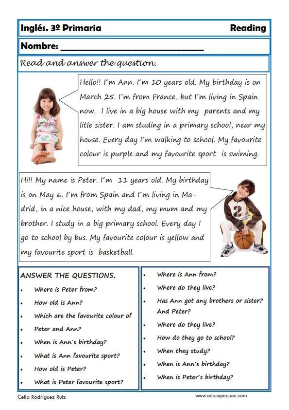 Ejercicios De Comprension De Lectura En Ingles Para Niños Hay Niños