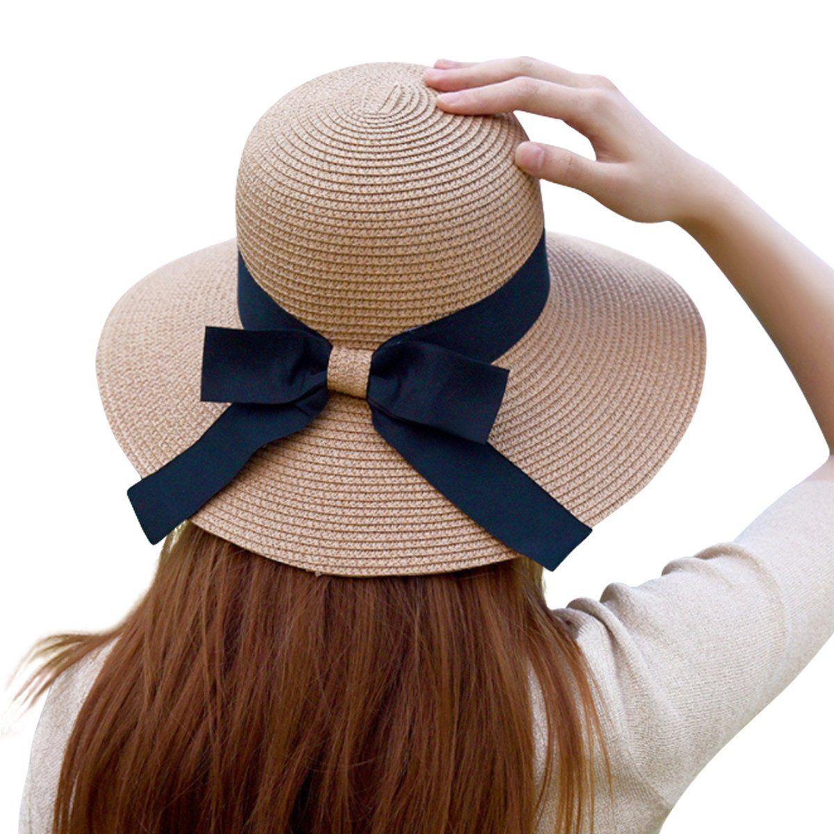 a57e7a7ede572  14.99 Lanzom Women Wide Brim Straw Panama Roll up Hat Fedora Beach Sun Hat  UPF50+ (Blue) at Amazon Women s Clothing store