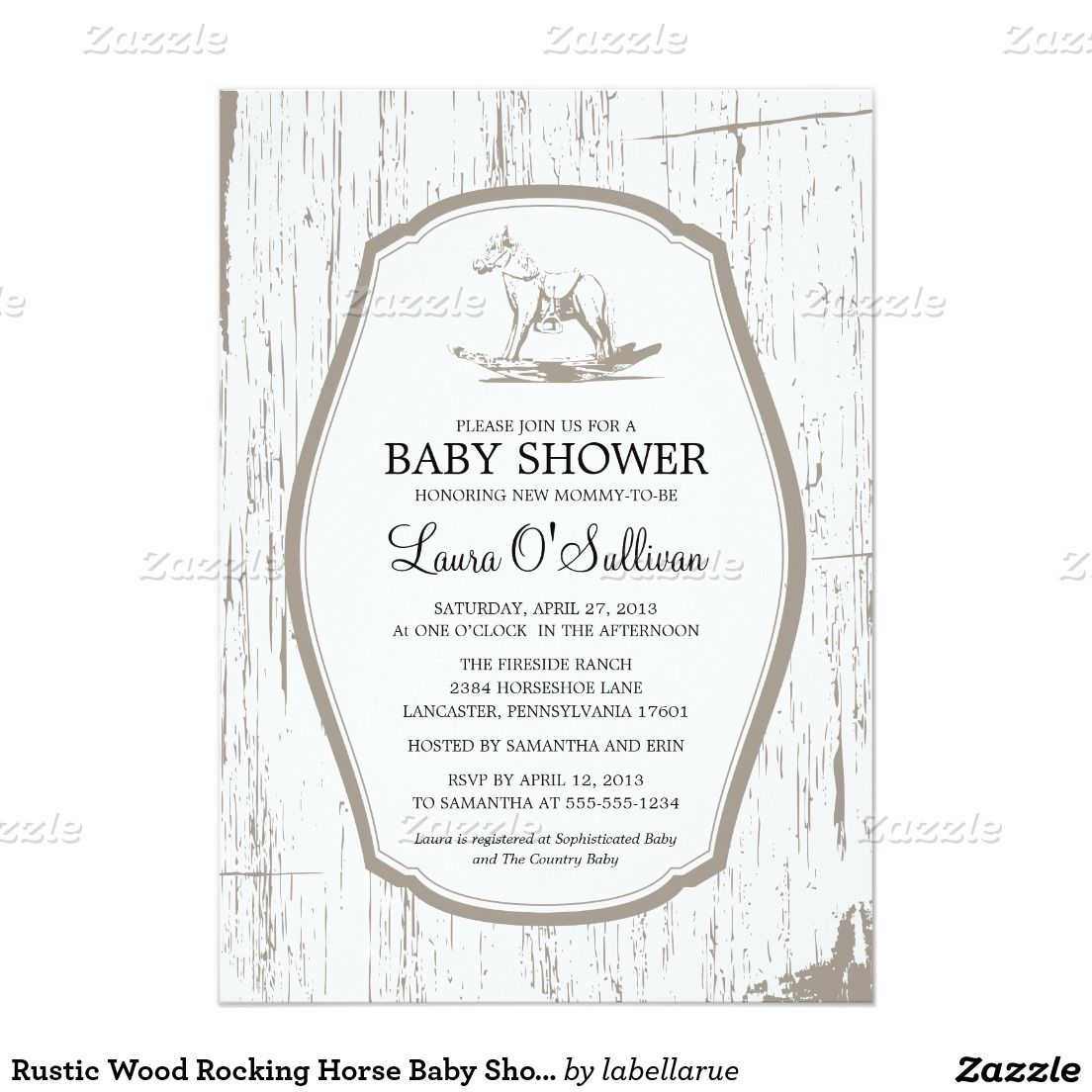 Rustic Wood Rocking Horse Baby Shower Card | Horse baby showers ...