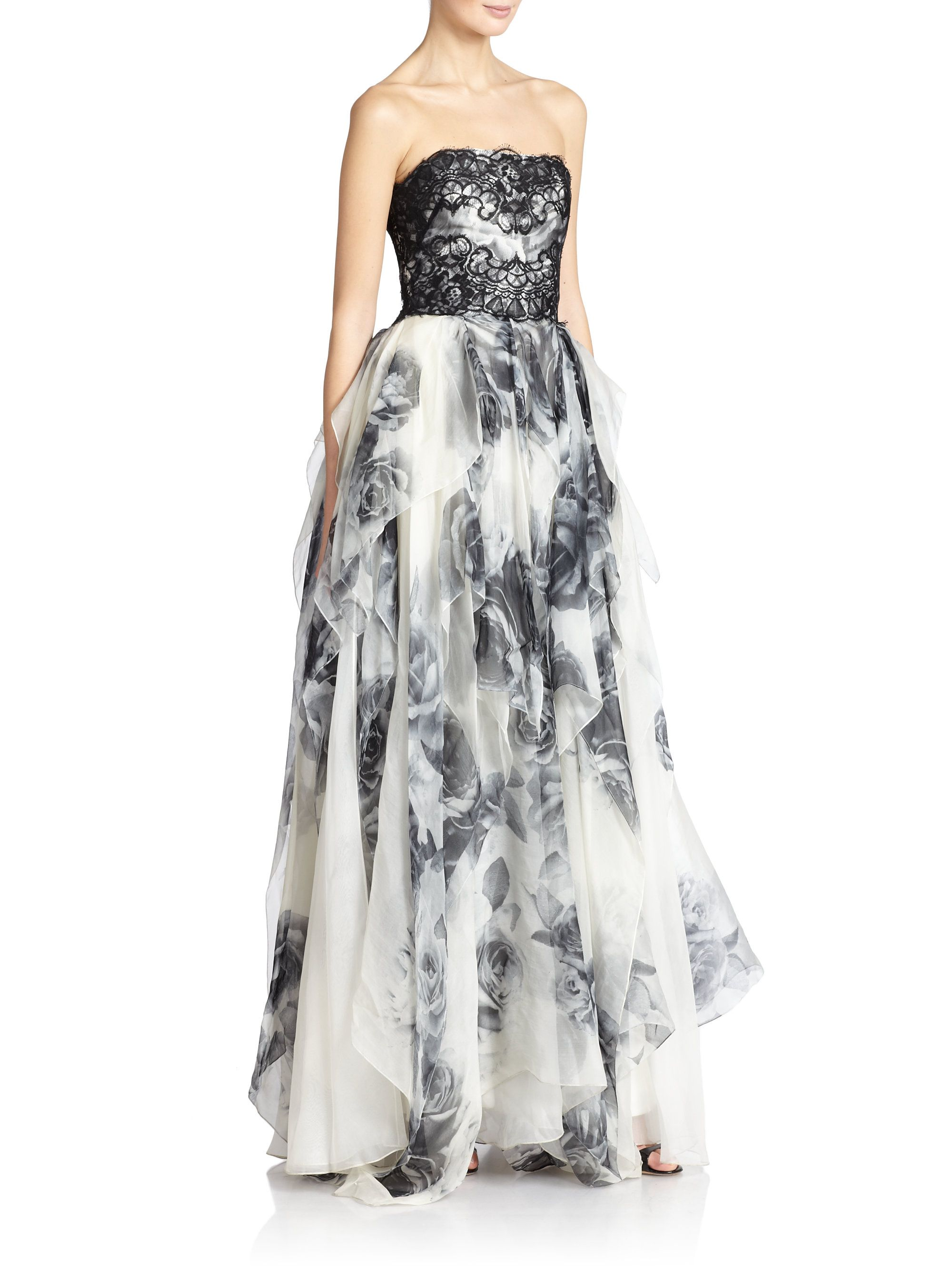 (Marchesa Notte | Embroidered Floral Strapless Dress)