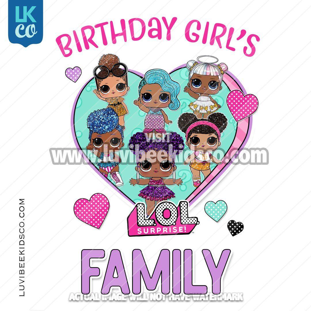 LOL Surprise Dolls Iron On Transfer Design Add Family