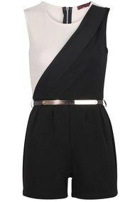 Cassie Black & White Gold Belted Playsuit | needthatdress.com
