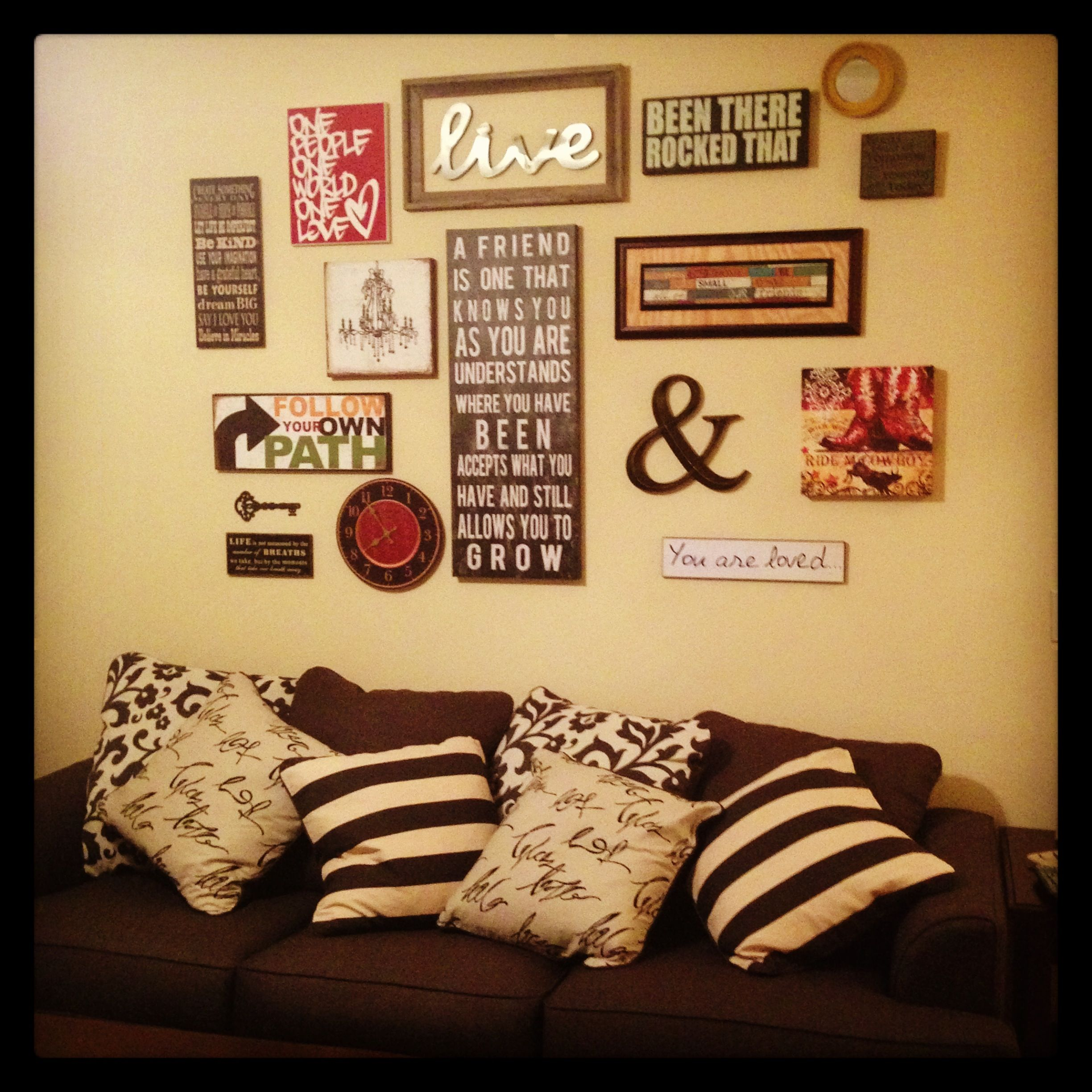 Living room collage placement with canvas, frames, photos, mirror ...