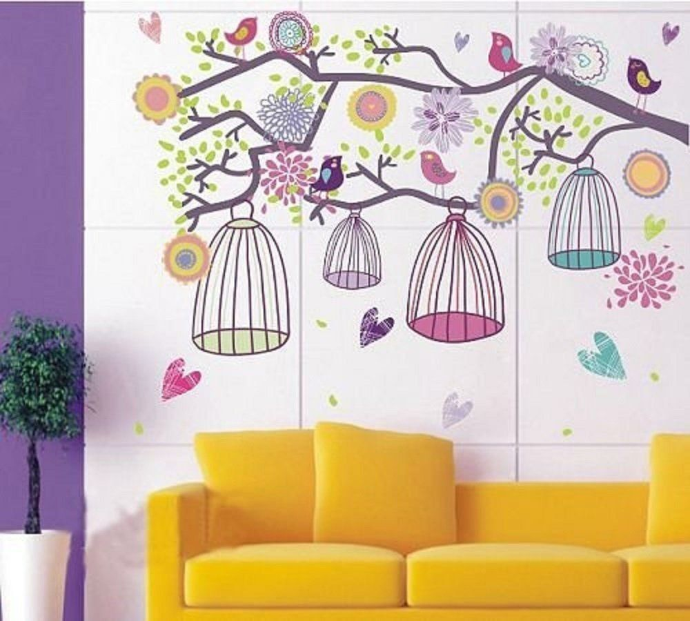 Walplus colourful birds and cage on tree branch wall stickers walplus colourful birds and cage on tree branch wall stickers amazon amipublicfo Choice Image