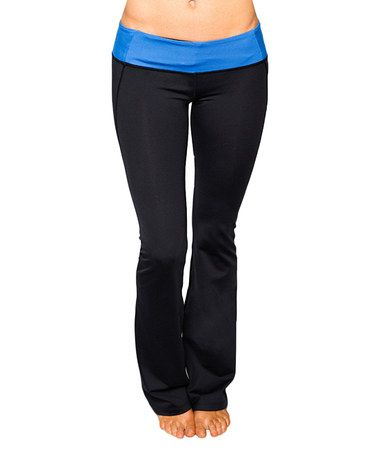 Take a look at this Tranquil Blue & Raven Black Virgo Yoga Pants by Cozy Orange on #zulily today!