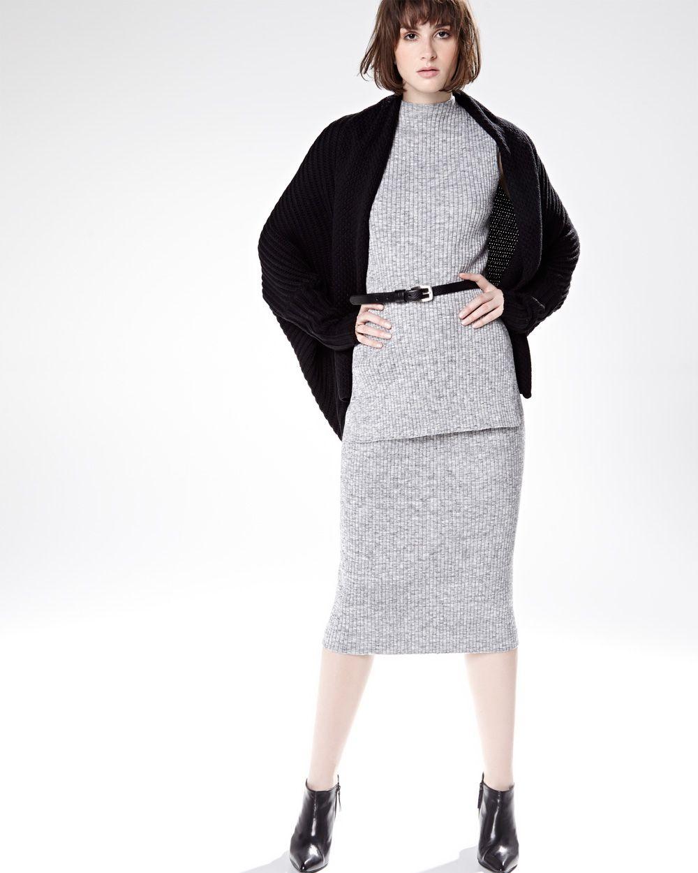 RW&CO. | Sleeveless rib knit tunic, Rib knit skirt & Long sleeve ...