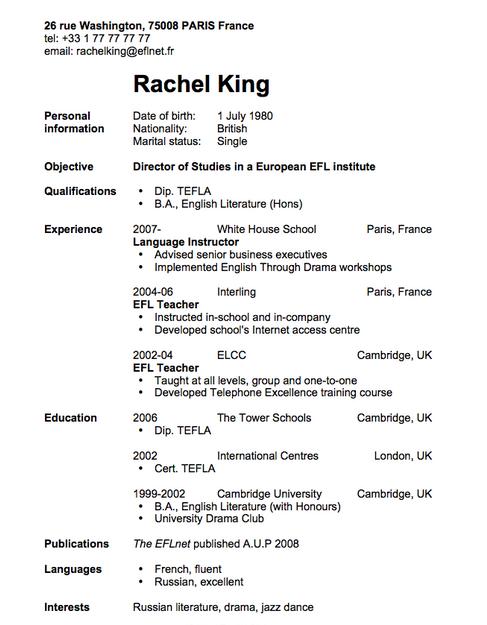Contoh curriculum vitae lengkap bahasa inggris