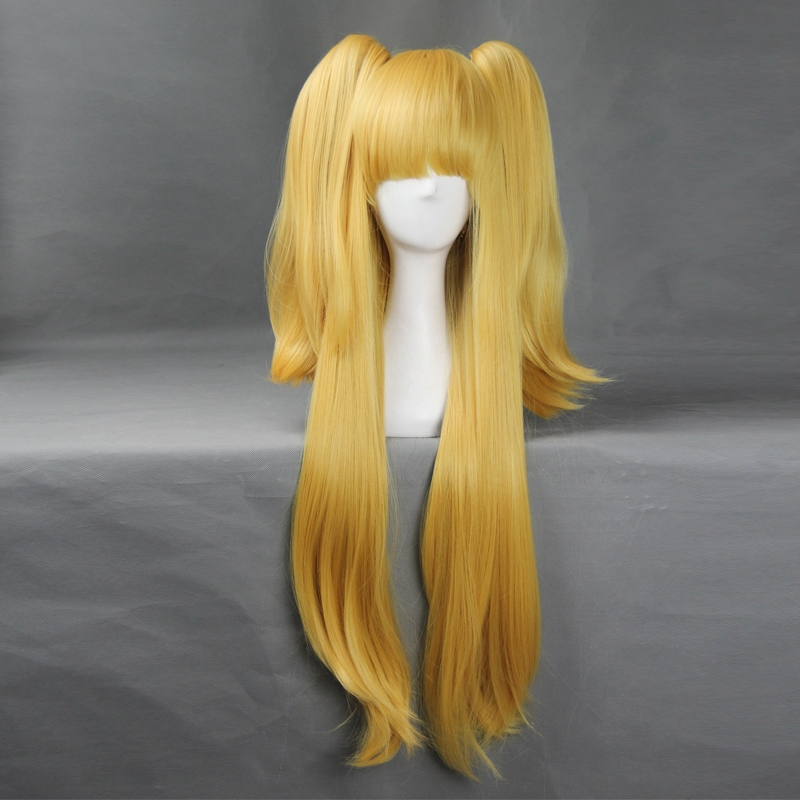 (31.19$)  Watch now - http://aia8s.worlditems.win/all/product.php?id=32417693240 - Cinderella girls Rika Jougasaki Yellow Women 80cm Length Long Wigs Japanese Style Anime Cosplay Wig Hair Cap Hairnet