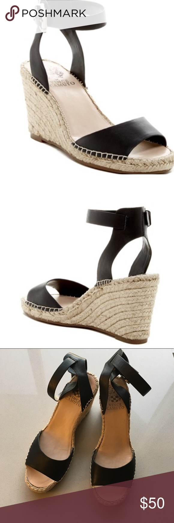 31773033e6b Vince Camuto Tagger Espadrille Wedge Sandal Open toe - Ankle buckle strap  closure - Lined footbed - Espadrille wedge heel - Approx.