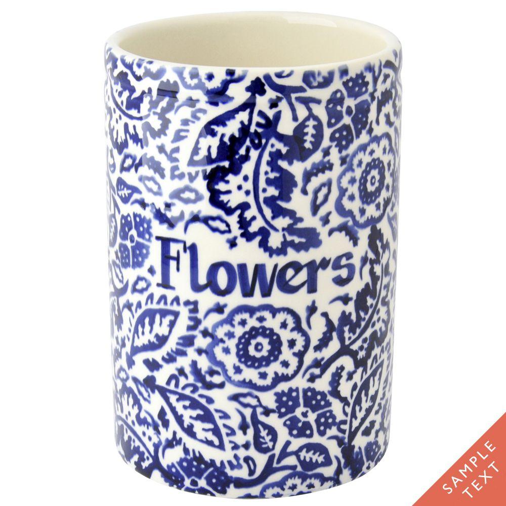 Personalised Blue Wallpaper Medium Vase (Discontinued August 2015)
