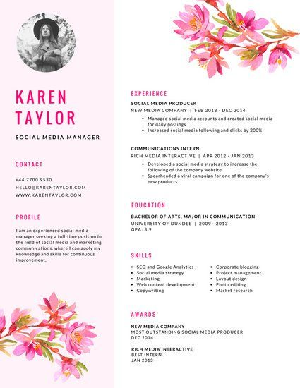 White And Pink Floral Creative Resume Resume Design Creative Creative Resume Resume Design