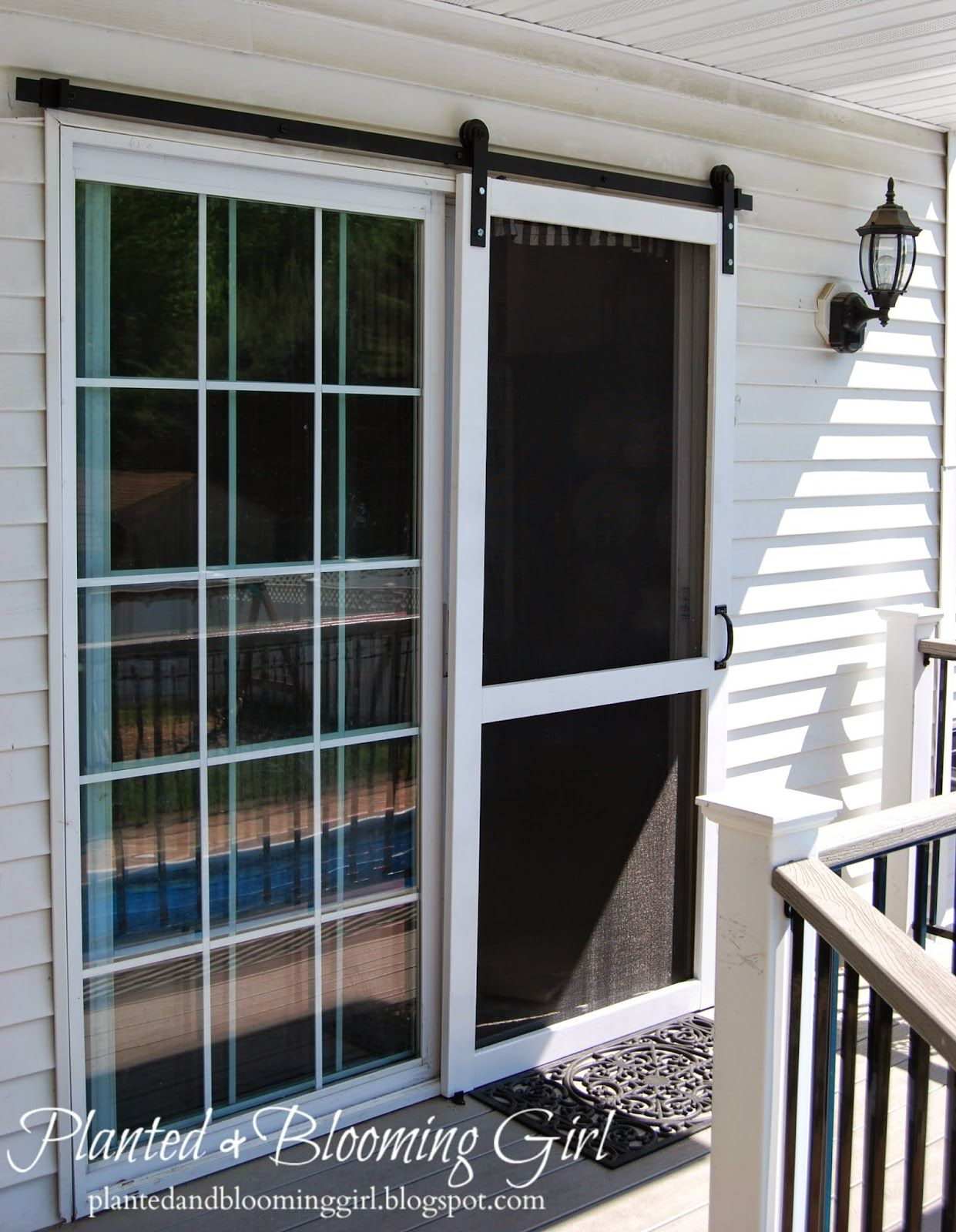 How To Add A Barn Track Sliding Screen Door With Images Diy