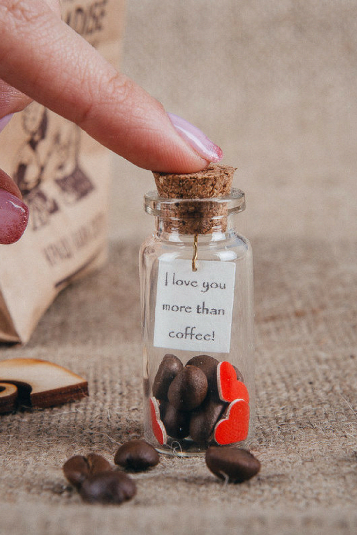 Gift for coffee lovers Message in a bottle I love you
