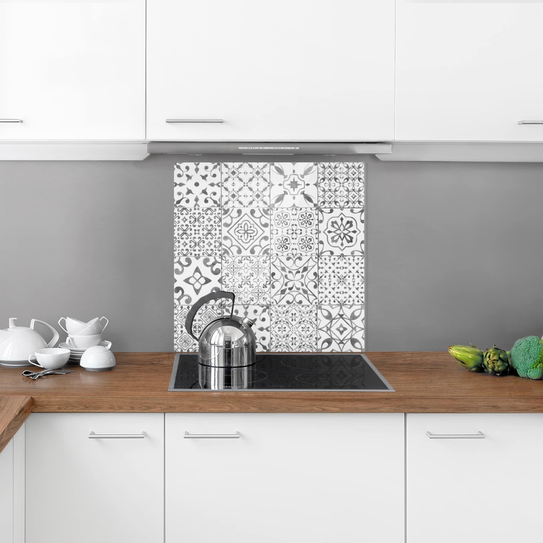 Paraschizzi in vetro - Pattern Tiles Gray White - Quadrato 1 ...