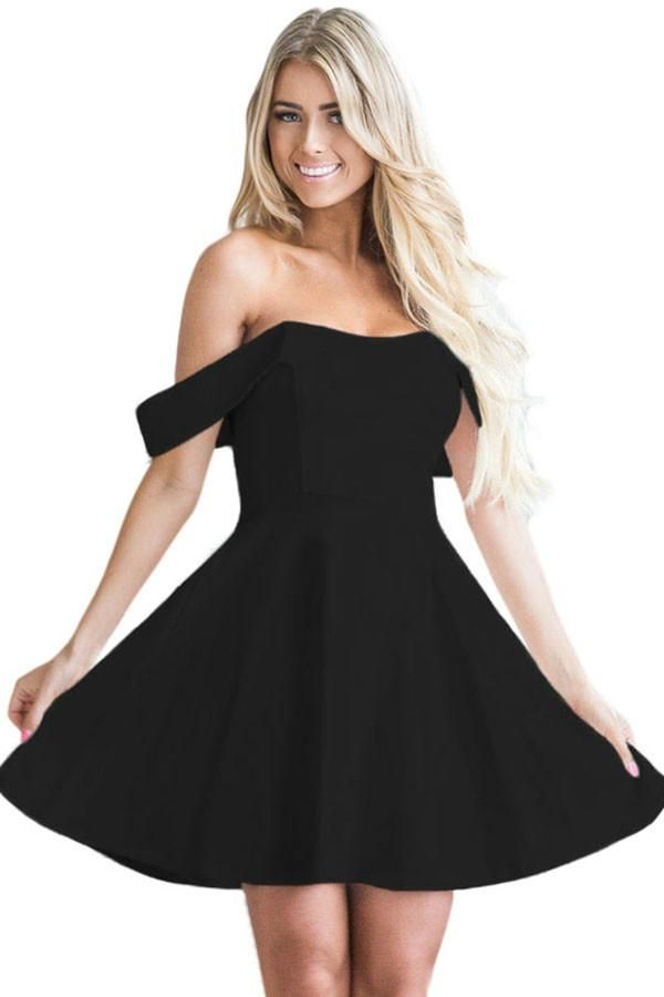 c51efede865 Off The Shoulder Flare Black Babydoll Dress modeshe.com