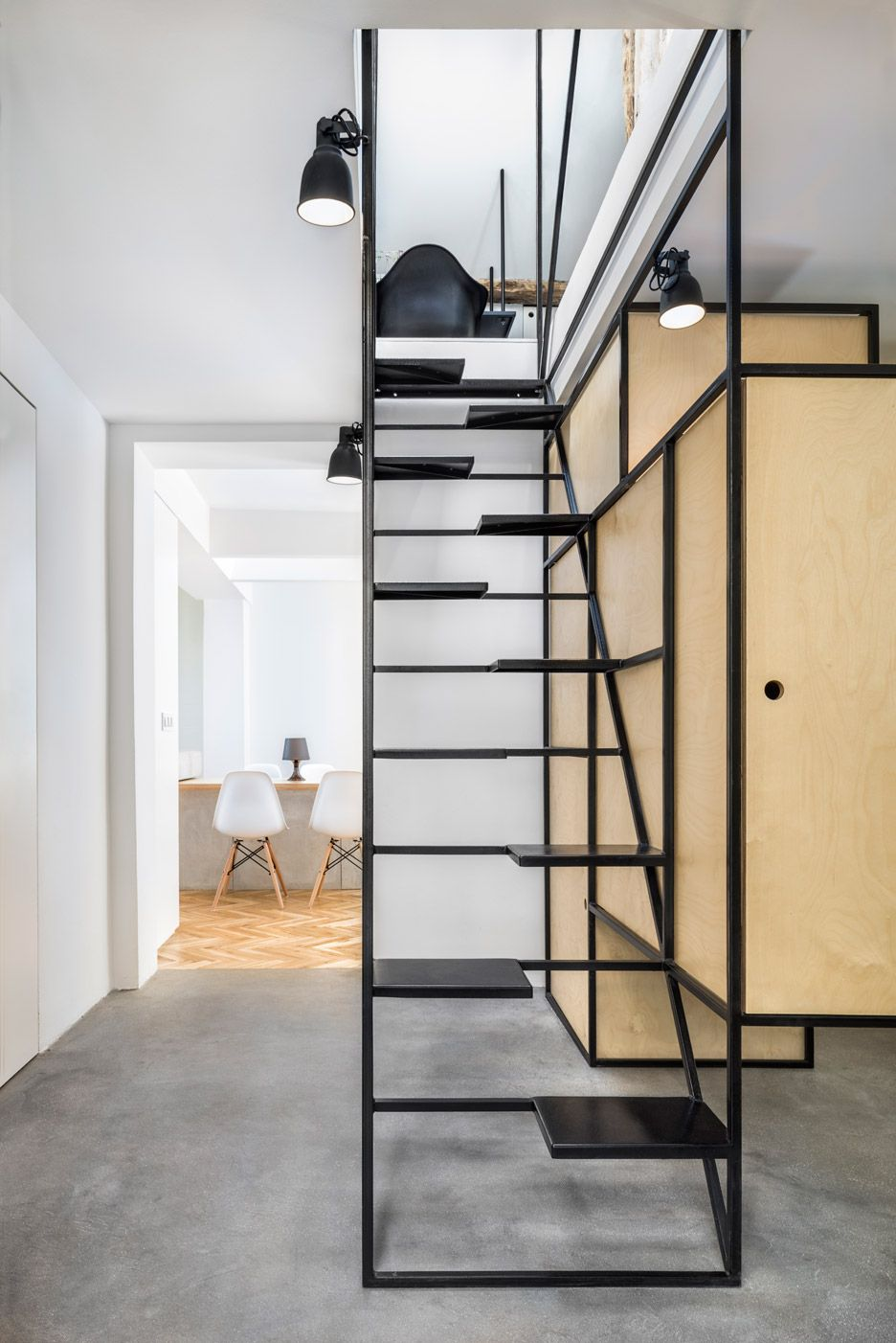 DontDIY adds black wireframe staircase in house in Bulgaria