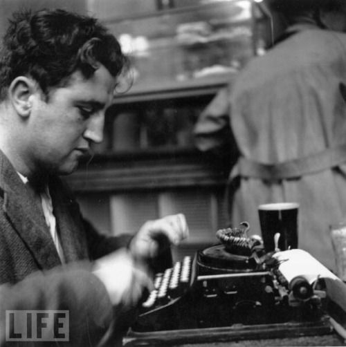 by Daniel Farson   Brendan Behan typing on a Remington portable, with a pint of Guinness beside him, in McDaid's pub on Harry Street, Dublin, on August 1, 1952.