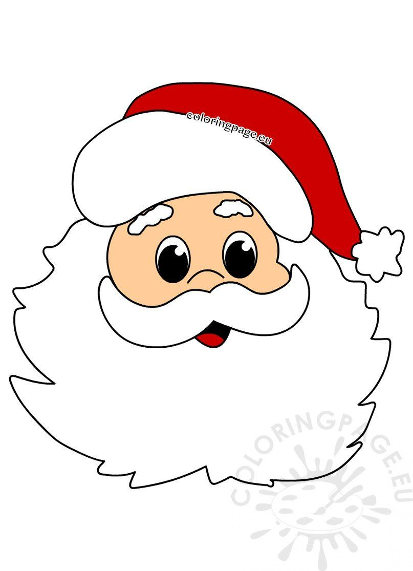 Face Santa Claus Cartoon Style Coloring Page Christmas Tree Coloring Page Santa Claus Drawing Free Christmas Tags Printable