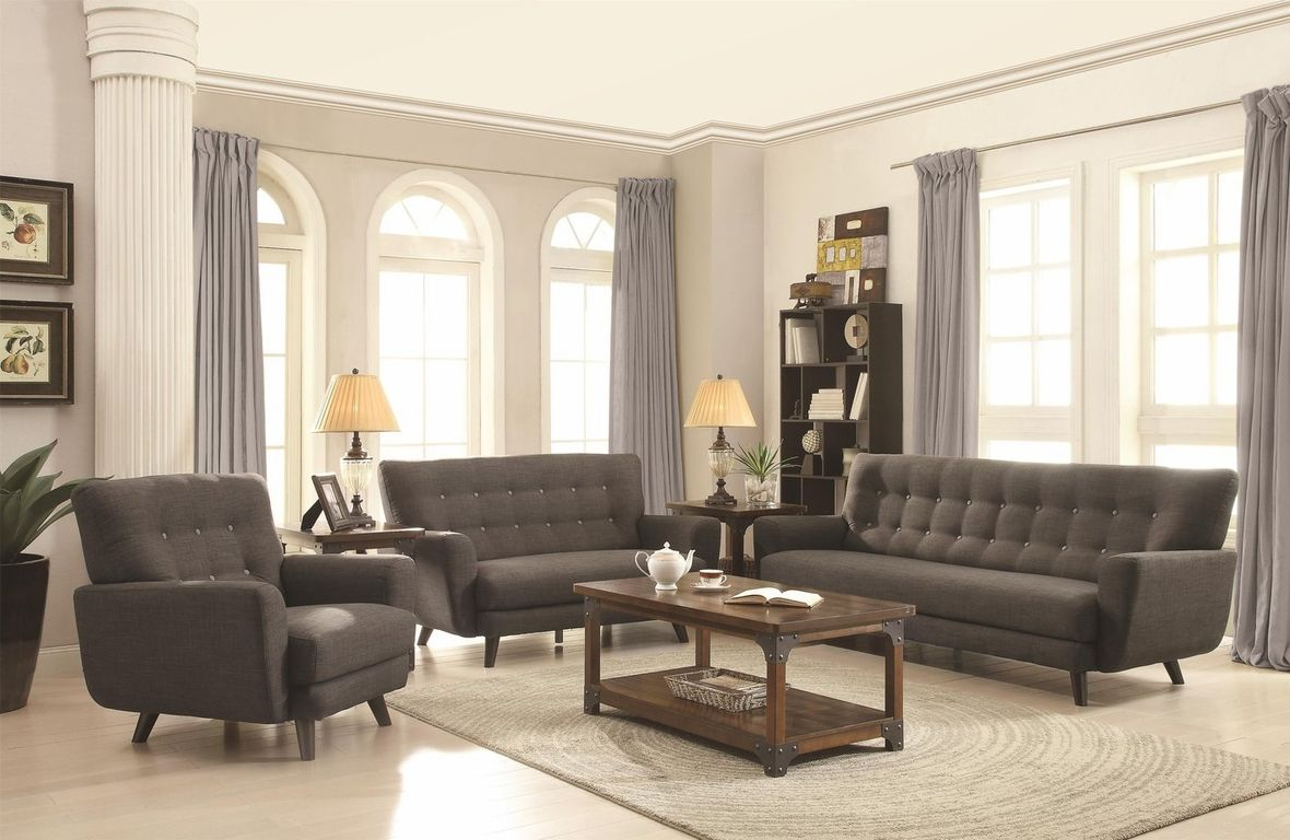 Coaster Maguire 504774 Grey Fabric Sofa Steal A Sofa Furniture Outlet Los Angeles C Furniture Contemporary Living Room Sofa Contemporary Living Room Sofa Set