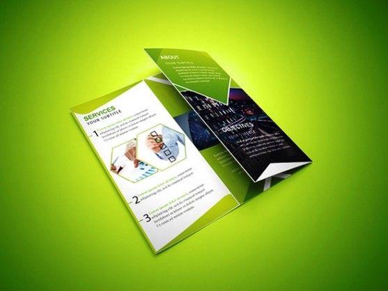 Cara Membuat Desain Brosur Yang Menarik Brosur Lipat Tiga Hijau - Photoshop tri fold brochure template free
