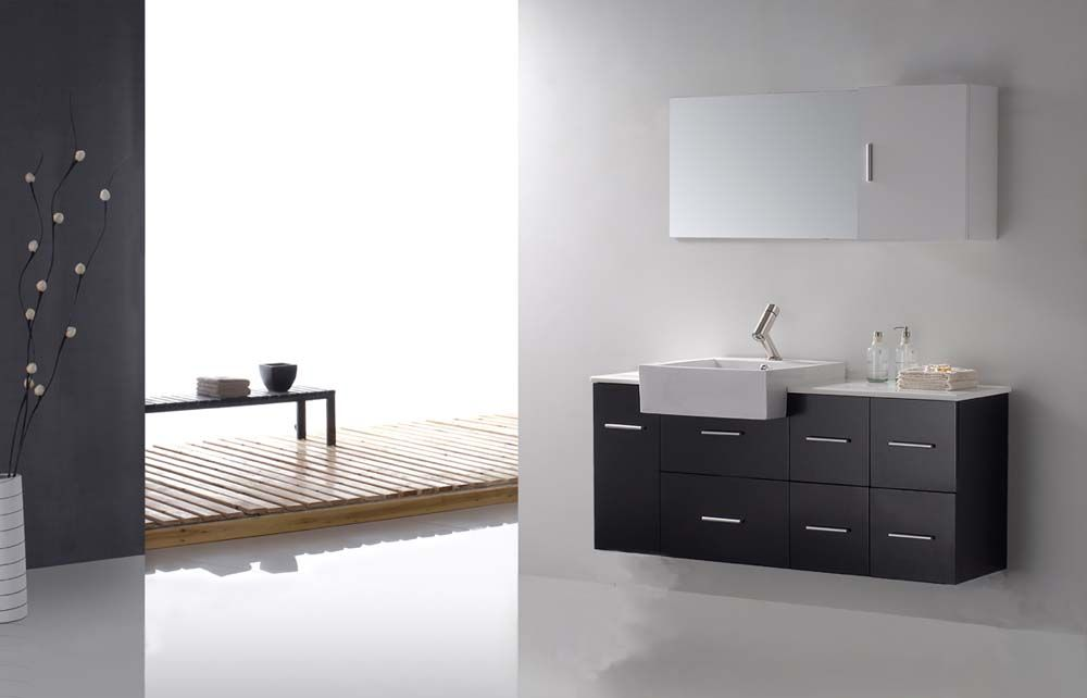 Floating Bathroom Vanity On Single Vanities 56 Squarely Set