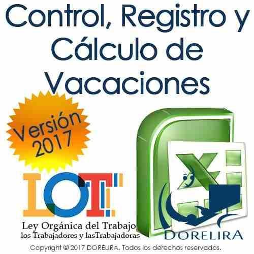 libro de vacaciones registro cálculos recibo de pago lottt