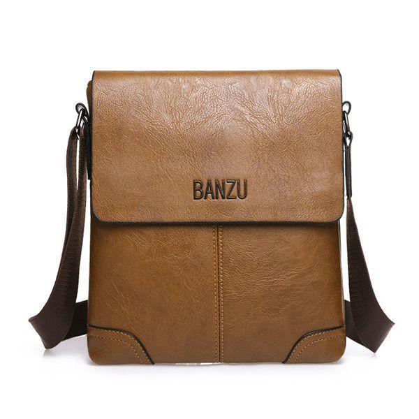 b8b056dbda38 Men Vintage PU Leather Business Shoulder Bags Crossbody Bag