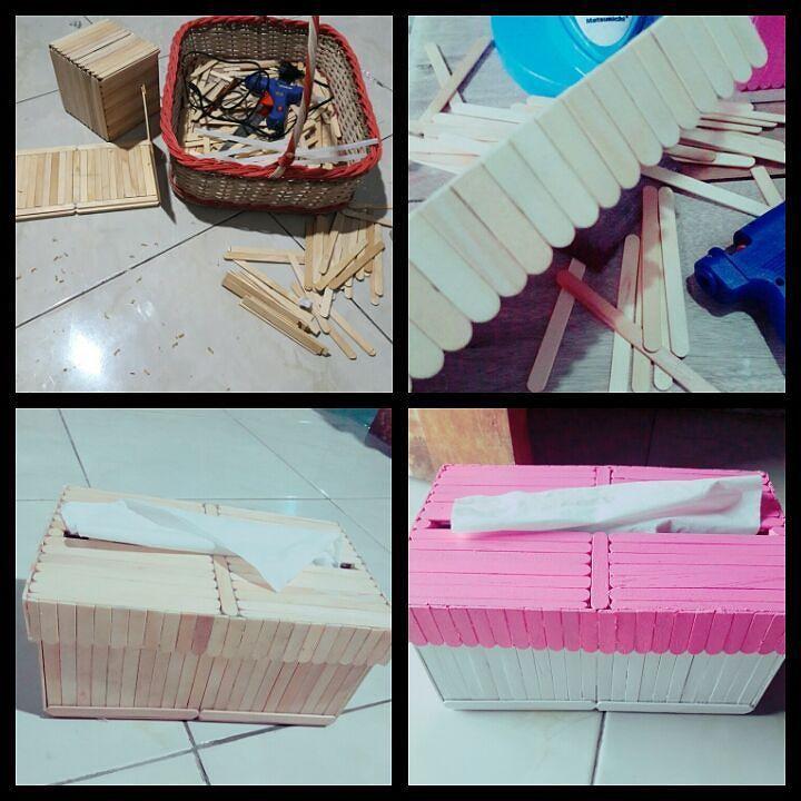 Cara Membuat Kotak Tisu Tempat Tisu Dari Stik Es Krim Kotak Ide