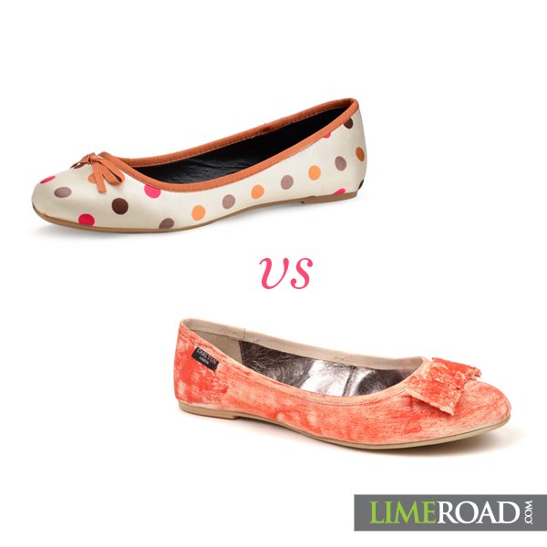 Polka dots or the orange ballet flat? #limeroad #shopping #footwear #shoes