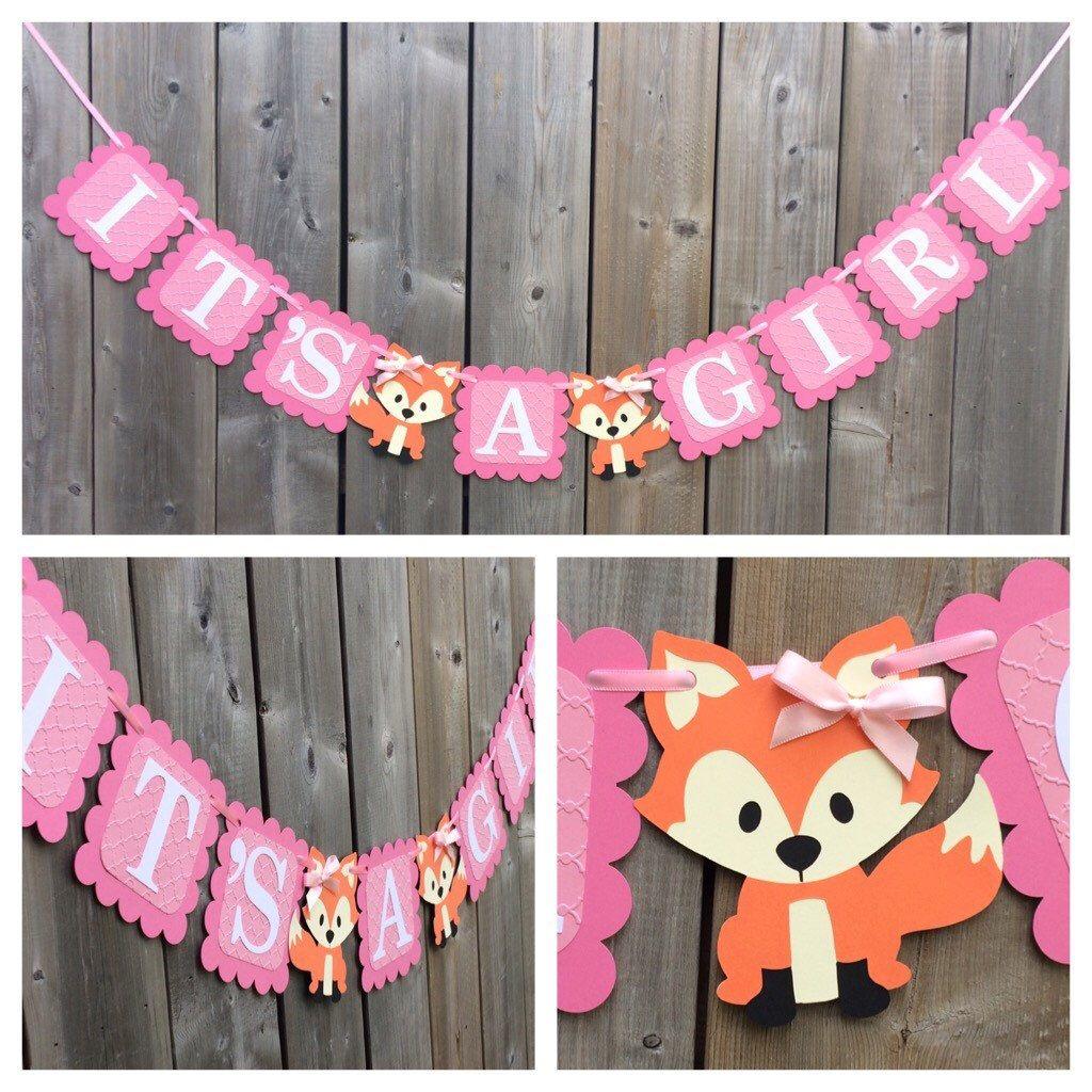 It S A Girl Fox Banner Fox Shower Banner Fox Themed Banner