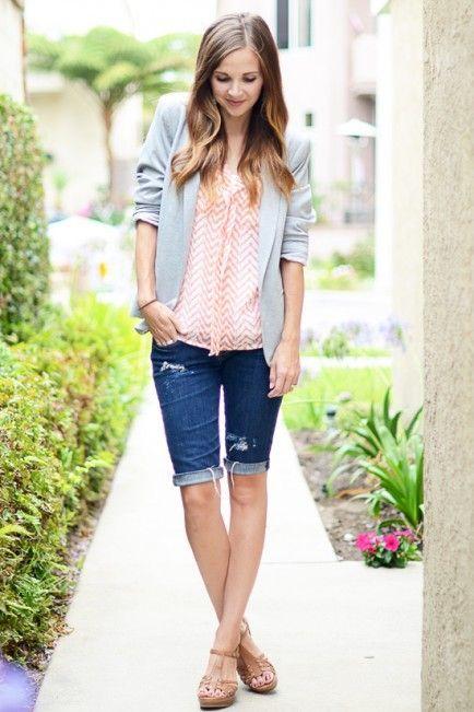 b81563a012d Night  jean cut-offs + breezy blouse + blazer + wedges Modest Summer Fashion