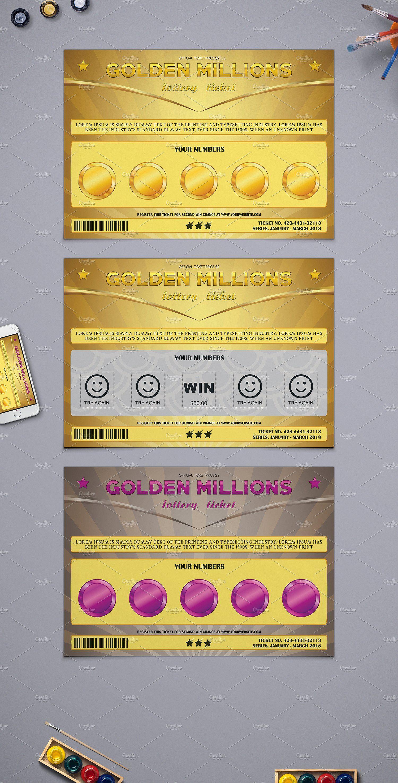 Small Lottery Ticket in Golden Style by Tzochko on @creativemarket