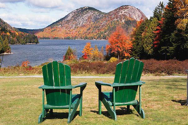 Fall Scenic with Adirondack Chairs at Jordan Pond Greeting Card ...