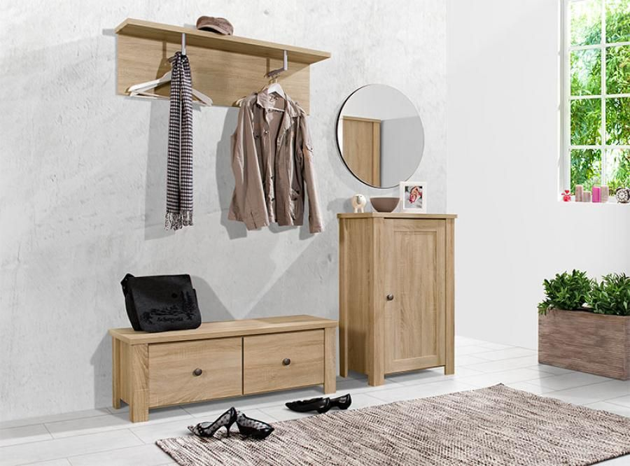 Contemporary Arte M Light Oak Hallway Shoe Cabinet Bench And Coat Rack