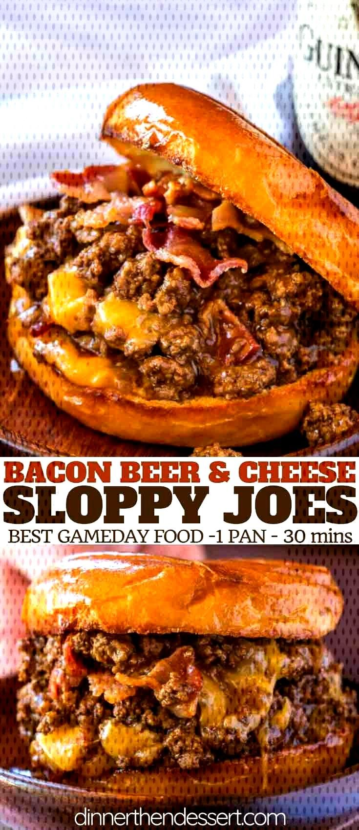 Bacon, Beer and Cheese Sloppy Joes are the perfect gameday food for a crowd with a Guinness sauce a